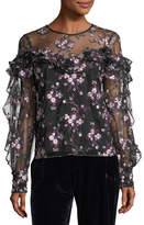Parker Welsh Floral-Embroidered Long-Sleeve Semisheer Blouse