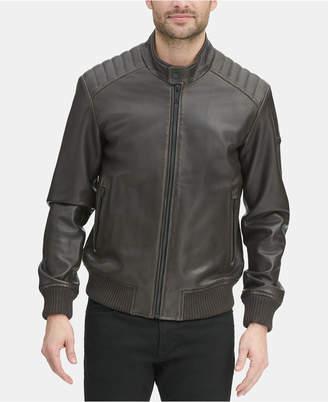 DKNY Men Faux Leather Quilted Shoulder Bomber Jacket