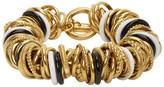 Balenciaga Gold and Black Multirings Bracelet