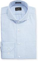 Neiman Marcus Classic-Fit Regular-Finish Check-Print Dress Shirt, Light Blue