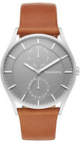 Skagen Stainless Steel Leather-Strap Chronograph Watch
