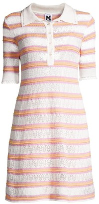 M Missoni Zig-Zag Knit Striped Polo Dress