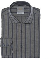 Thomas Dean Men's 2 Button SPRD Collar Jacquard Stripe