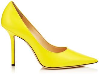 Jimmy Choo LOVE 100 Liquid Fluorescent Yellow Leather Pointy Toe Pump