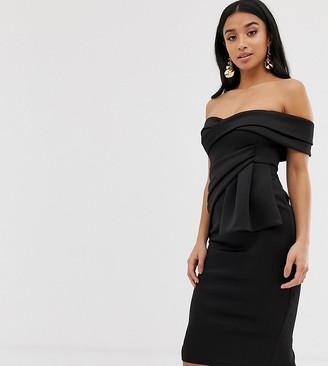Asos DESIGN Petite Bardot Fold Wrap Front Midi Pencil Dress