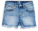 7 For All Mankind Little Girl's Frayed Denim Shorts