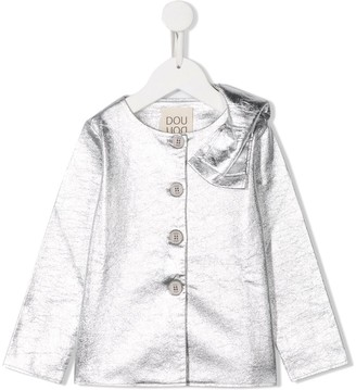 Douuod Kids Shoulder Bow Buttoned Blouse