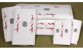Oriental Furniture Outstanding Wedding Gift Idea, 7pc. Embroidered Eastern Accents Luxury Towel Bath Set, White