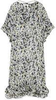 See by Chloe Ruffled Floral-print Chiffon Midi Dress - Black