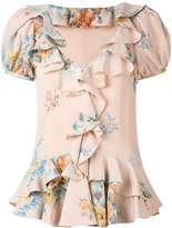 Alexander McQueen floral ruffled blouse