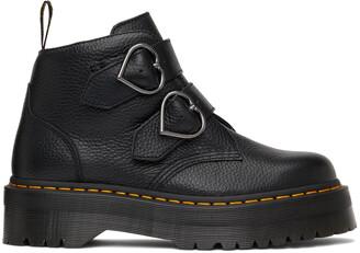Dr. Martens Black Devon Heart Platform Boots