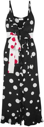 Racil Ruffled Polka-dot Silk Crepe De Chine Maxi Wrap Dress