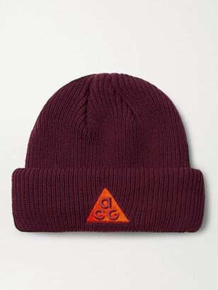 Nike ACG NRG Logo-Embroidered Appliqued Ribbed-Knit Beanie - Men - Burgundy