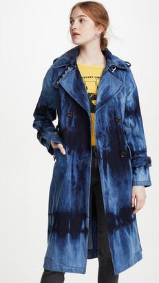 AVEC LES FILLES Tie Dye Washed Denim Trench Coat