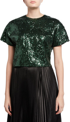 No.21 Sequined Cropped Short-Sleeve Top