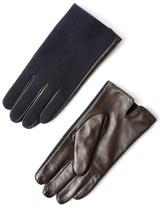 Frank & Oak Wool & Leather Gloves in Navy