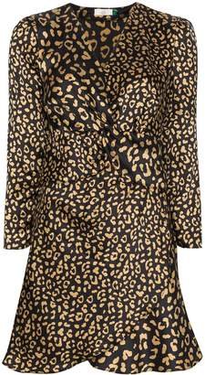 Rixo Lilly leopard print silk mini dress