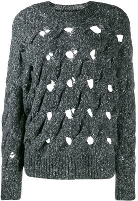 Etoile Isabel Marant Distressed Oversized Knitted Sweater