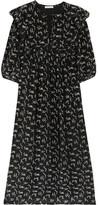 Mes Demoiselles Flocon Ruffled Printed Silk Crepe De Chine Midi Dress - Black