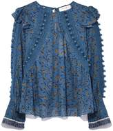 Sea Esther Pom Pom Blouse in Steel Blue
