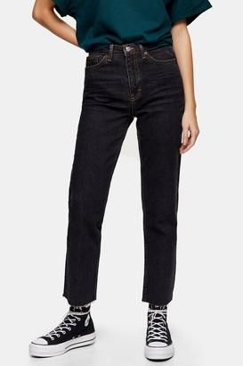 Topshop Womens Black Raw Hem Straight Jeans - Black