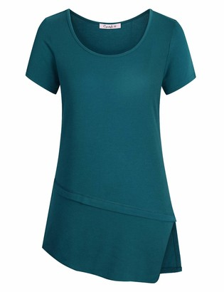Cyanstyle Summer Tunic Tops for Women Juniors Solid Color Shirts Round Scoop Neckline Slim Fitting Breathable Cotton Soft Material Blouses Petite Asymmetrical Hem Clothing Cyan L