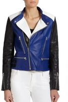 Of Two Minds Colorblock Leather Moto Jacket