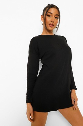 boohoo Long Sleeve Funnel Neck Colour Block T Shirt Dress