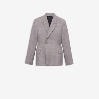 Balenciaga Waisted Jacket in beige and black checked tailoring wool
