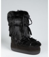 Fendi black suede and rabbit fur 'St. Mortiz' moon boots