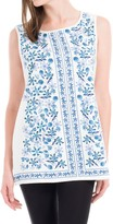 Max Studio Sleeveless Painted Floral Top