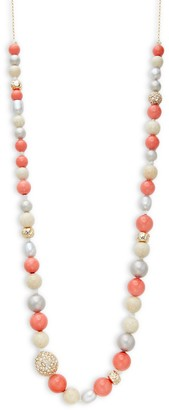 Alexis Bittar Shell Pearl, Crystal Mixed Bead Long Necklace
