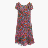 J.Crew Petite ruffled dress in vibrant paisley
