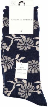 Simon De Winter Floral Wool Blend Crew Sock 23-229