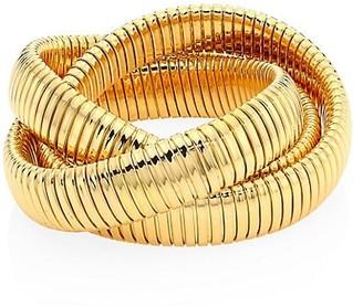 Alberto Milani Via Bagutta 18K Gold Triple Row Tubogas Bangle Bracelet