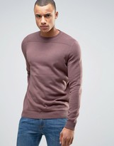 New Look Crew Neck Sweater With Textured Panel In Mauve