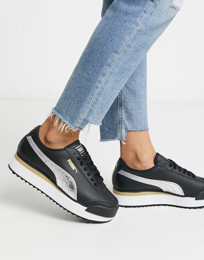 Puma Roma Amor Metal sneakers in black - ShopStyle