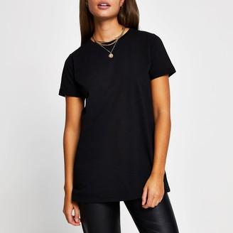 River Island Womens Black turn back short sleeve t-shirt