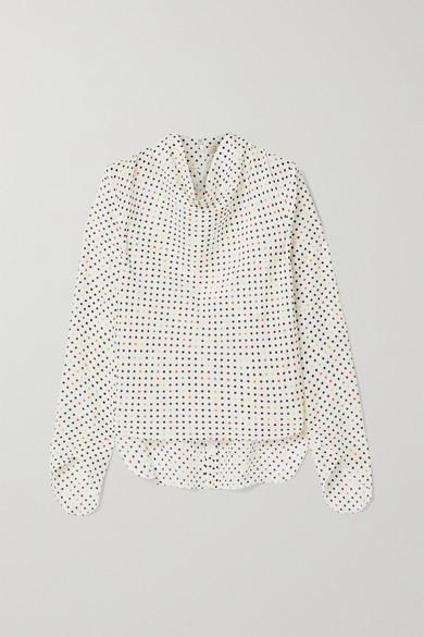 Christopher Kane Draped Polka-dot Cotton And Silk-blend Jacquard Blouse - White