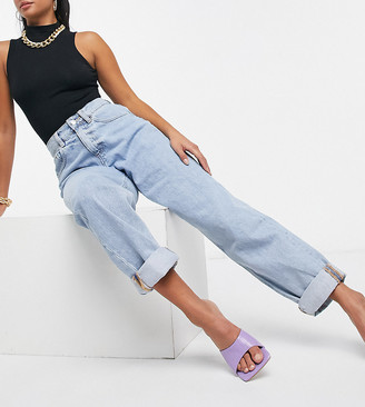 ASOS DESIGN Petite recycled high rise 'slouchy' mom jeans in lightwash