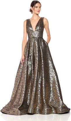Mac Duggal Women's V-Neck Metallic Ballgown