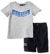 Diesel Toddler Boys) Two-Piece Grey Logo Tee & Navy Cargo Shorts Set
