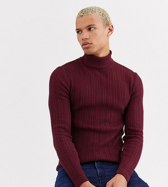 ASOS DESIGN Tall muscle fit lightweight cable roll neck jumper in burgundy