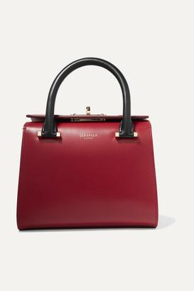 SERAPIAN Villa Mini Color-block Leather Tote - Red