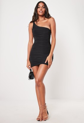 Missguided Tall Black Slinky One Shoulder Ruched Bodycon Mini Dress