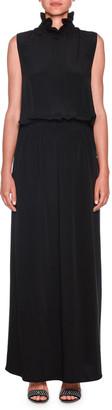 Giorgio Armani Sleeveless Smocked-Waist Silk Gown