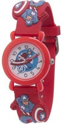 Marvel Avenger Assemble Captain America Boys' Red Plastic Time Teacher Watch, Red 3D Plastic Strap