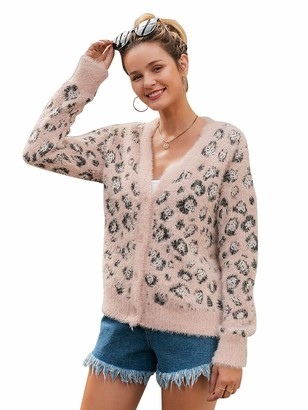 BerryGo Women's Long Sleeve Leopard Print Button Down Sweater Open Front Cardigan - Pink - 4 UK/6 UK(Small)