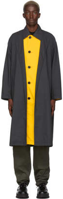 N.Hoolywood Grey and Yellow Wool Check Trench Coat
