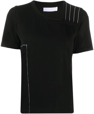 Stagni 47 asymmetric contrast stitching T-shirt